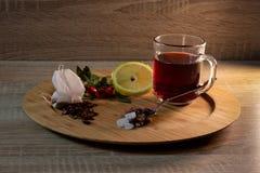 与装饰的冬天定期的果子茶 免版税库存图片