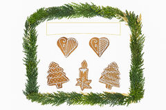 与装饰的圣诞卡 图库摄影