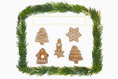 与装饰的圣诞卡 库存照片
