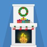 与装饰的圣诞节壁炉,花圈,礼物盒,火焰 也corel凹道例证向量 平的样式 库存例证