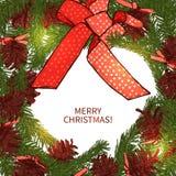 与装饰的圣诞节花圈 库存图片