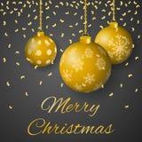 与装饰的垂悬的金子的圣诞快乐豪华贺卡传染媒介上色了在灰色背景的圣诞节装饰品 库存图片