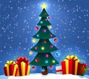 与装饰的树和礼物盒的圣诞节背景 圣诞节和新年假日 下载例证图象准备好的向量 免版税图库摄影