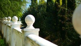与装饰的白色楼梯栏杆从球在一个热带公园 股票录像