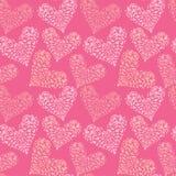 与装饰花卉心脏,愉快的华伦泰` s的无缝的样式 免版税库存照片