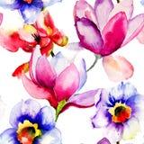 与装饰花的无缝的样式 库存照片