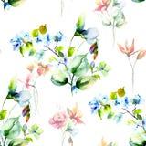 与装饰花的无缝的背景 免版税图库摄影