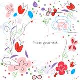 与装饰花的花卉传染媒介贺卡 免版税库存图片