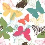 与装饰蝴蝶的无缝的样式在斯堪的纳维亚样式 设计婚礼的贺卡和邀请,生日, 库存例证