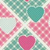 与装饰补缀品心脏的花卉背景 复活节坐垫、枕头、方巾,丝绸方巾和披肩的f传染媒介样式 图库摄影