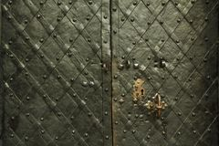 与装饰覆盖物的古老伪造的金属纹理 门,门,快门 中世纪灰色门的细节与金属decoratio的 免版税库存图片