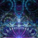 与装饰触手的抽象外籍人异乎寻常的花背景喜欢花纹花样,全部在发光蓝色,桃红色,紫色 免版税库存图片