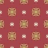 与装饰雪花的平的新年无缝的样式 免版税库存图片
