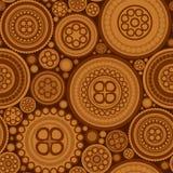 与褐色被加点的圈子的无缝的样式 免版税库存图片