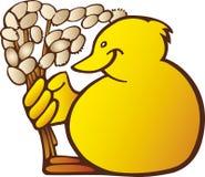 与褪色柳的复活节小鸡 图库摄影