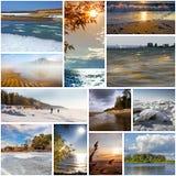 与西伯利亚河Ob的照片的拼贴画 库存图片