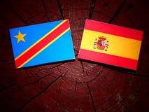 与西班牙旗子的刚果民主共和国旗子在tre 库存图片