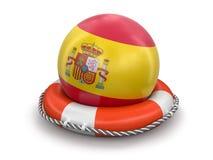 与西班牙旗子的球在lifebuoy 库存图片