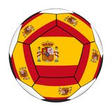 与西班牙旗子的足球 库存照片