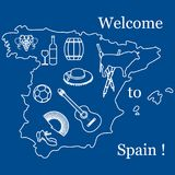 与西班牙的各种各样的标志的传染媒介例证 旅行和le 免版税库存照片