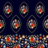 与西班牙主题的明亮的花卉边界 库存图片