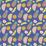 与西瓜、菠萝、香蕉、苹果和猕猴桃的果子样式的蓝色背景 库存照片