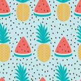 与西瓜切片菠萝夏天新鲜水果设计的传染媒介无缝的墙纸样式 库存图片