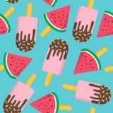 与西瓜无缝的样式的冰淇凌 图库摄影