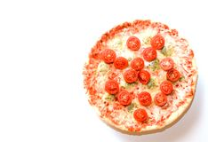 与西红柿copyspace的薄饼四乳酪 免版税库存图片
