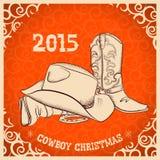 与西部靴子和西部帽子的西部新年 库存图片