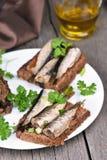 与西鲱的开胃菜面包在白色板材 库存图片
