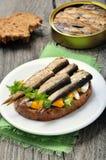 与西鲱的开胃菜面包 免版税图库摄影