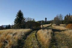 与观测塔的秋天风景在Gorce山 免版税库存照片