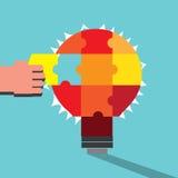 与解决的难题的有启发性电灯泡 免版税图库摄影