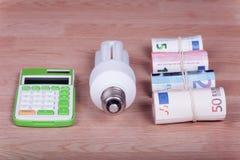 与计算器和金钱的节能电灯泡 图库摄影