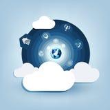 与计算机云彩的圆的蓝色设计 库存图片