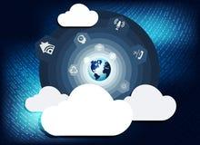 与计算机云彩的蓝色背景 库存图片