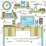 与计算机显示器的Workpace 免版税库存照片