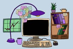 与计算机的办公室桌 免版税库存照片
