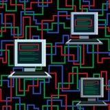 与计算机的无缝的样式 图库摄影