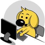 与计算机的聪明的狗 库存图片