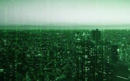 与计算机编制程序纹理的轻的大厦东京市技术的 免版税库存照片