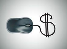 与计算机老鼠和美元的符号的金钱概念 免版税库存照片