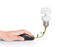 与计算机老鼠标志的电灯泡标志 免版税库存图片