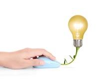 与计算机老鼠标志的电灯泡标志 库存图片