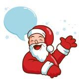 与讲话泡影挥动的圣诞老人 免版税库存照片