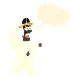 与讲话泡影的减速火箭的动画片天使 库存照片