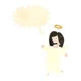 与讲话泡影的减速火箭的动画片天使 库存图片