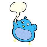 与讲话泡影的动画片肥胖鸟 库存照片