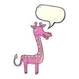 与讲话泡影的动画片长颈鹿 免版税图库摄影